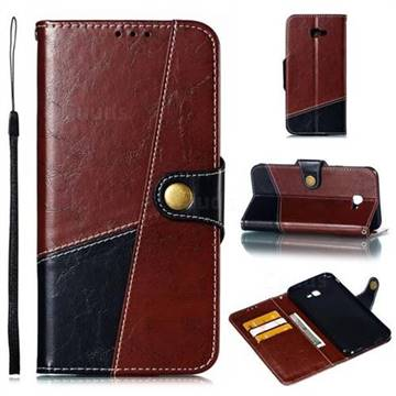 Retro Magnetic Stitching Wallet Flip Cover for Samsung Galaxy J4 Plus(6.0 inch) - Dark Red