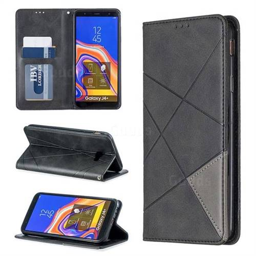 Prismatic Slim Magnetic Sucking Stitching Wallet Flip Cover for Samsung Galaxy J4 Plus(6.0 inch) - Black