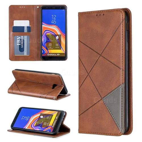Prismatic Slim Magnetic Sucking Stitching Wallet Flip Cover for Samsung Galaxy J4 Plus(6.0 inch) - Brown