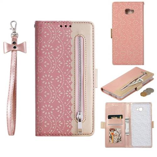 Luxury Lace Zipper Stitching Leather Phone Wallet Case for Samsung Galaxy J4 Plus(6.0 inch) - Pink
