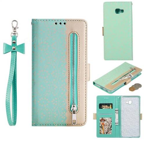 Luxury Lace Zipper Stitching Leather Phone Wallet Case for Samsung Galaxy J4 Plus(6.0 inch) - Green