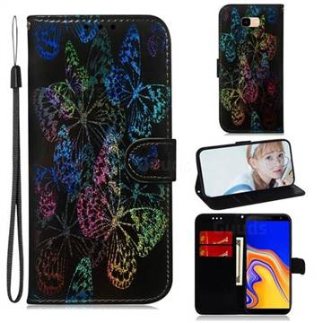 Black Butterfly Laser Shining Leather Wallet Phone Case for Samsung Galaxy J4 Plus(6.0 inch)