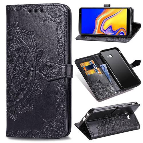 Embossing Imprint Mandala Flower Leather Wallet Case for Samsung Galaxy J4 Plus(6.0 inch) - Black