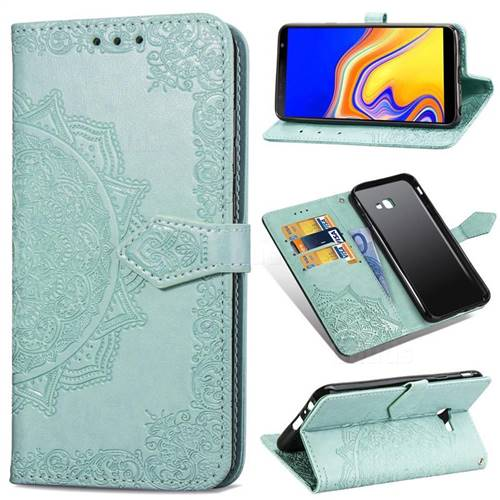 Embossing Imprint Mandala Flower Leather Wallet Case for Samsung Galaxy J4 Plus(6.0 inch) - Green