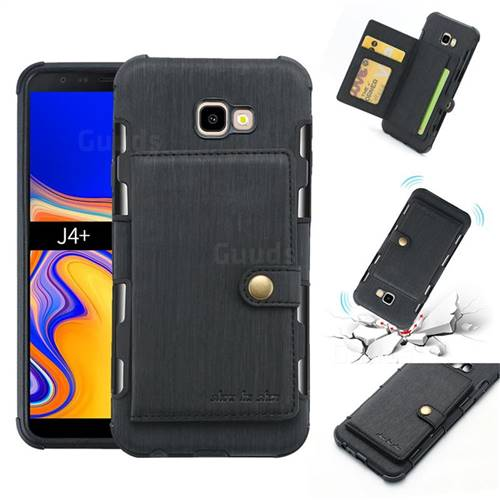 Brush Multi-function Leather Phone Case for Samsung Galaxy J4 Plus(6.0 inch) - Black