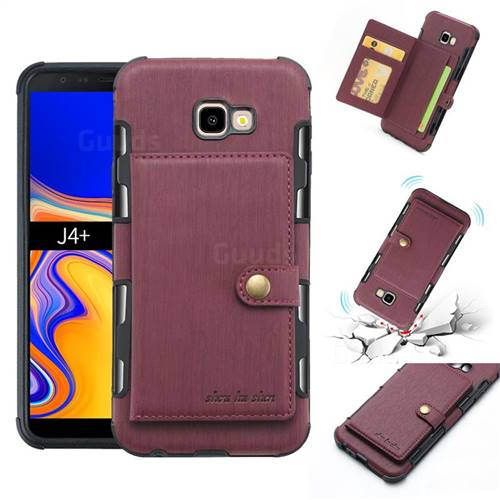 Brush Multi-function Leather Phone Case for Samsung Galaxy J4 Plus(6.0 inch) - Wine Red