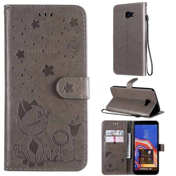 Embossing Bee and Cat Leather Wallet Case for Samsung Galaxy J4 Plus(6.0 inch) - Gray