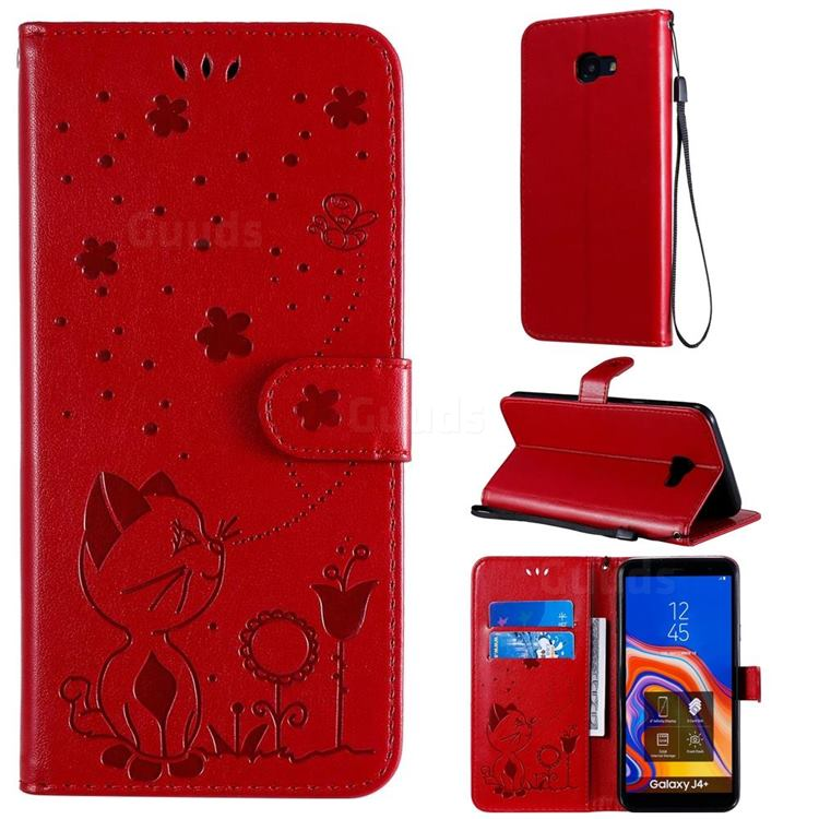 Embossing Bee and Cat Leather Wallet Case for Samsung Galaxy J4 Plus(6.0 inch) - Red