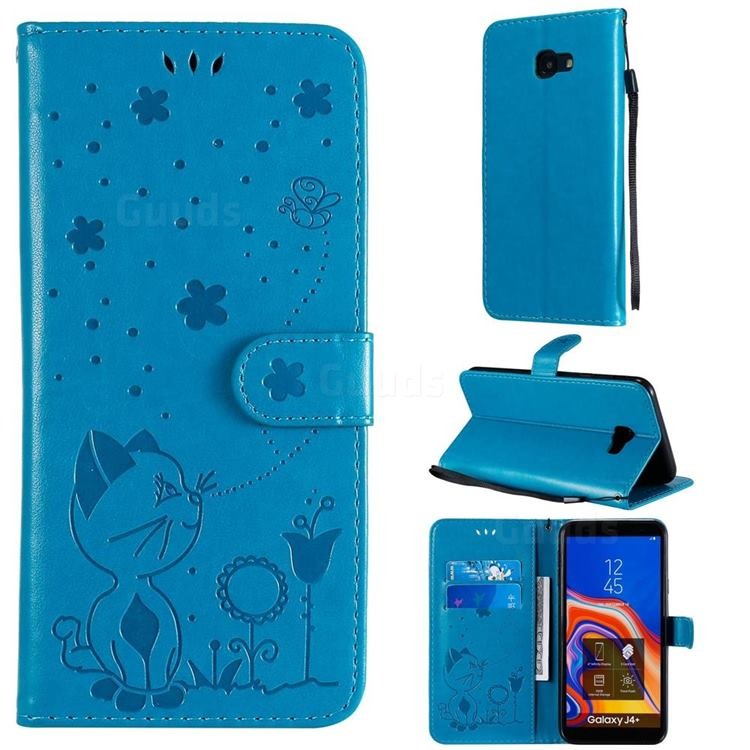Embossing Bee and Cat Leather Wallet Case for Samsung Galaxy J4 Plus(6.0 inch) - Blue