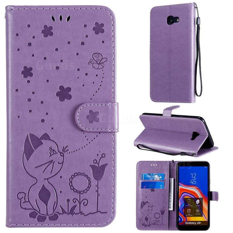 Embossing Bee and Cat Leather Wallet Case for Samsung Galaxy J4 Plus(6.0 inch) - Purple