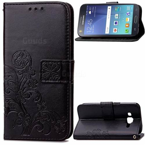 Embossing Imprint Four-Leaf Clover Leather Wallet Case for Samsung Galaxy J5 J500 - Black