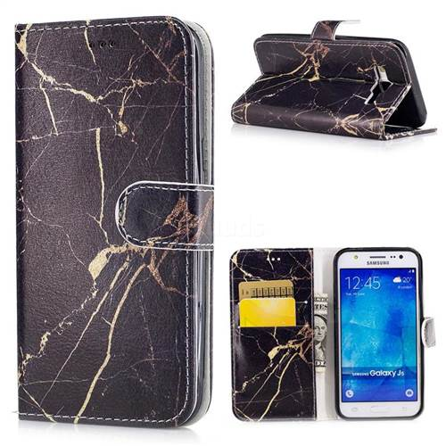 Black Gold Marble PU Leather Wallet Case for Samsung Galaxy J5 2015 J500