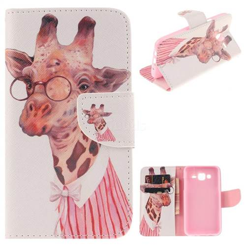 Pink Giraffe PU Leather Wallet Case for Samsung Galaxy J5 2015 J500