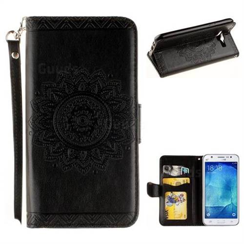 Embossed Datura Flower PU Leather Wallet Case for Samsung Galaxy J5 2015 J500 - Black