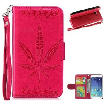 Intricate Embossing Maple Leather Wallet Case for Samsung Galaxy J5 2015 J500 - Rose