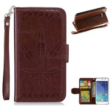 Intricate Embossing Maple Leather Wallet Case for Samsung Galaxy J5 2015 J500 - Brown