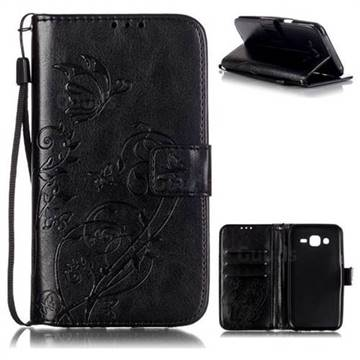 Embossing Butterfly Flower Leather Wallet Case for Samsung Galaxy J5 2015 J500 - Black