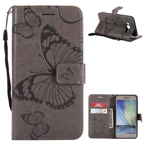 Embossing 3D Butterfly Leather Wallet Case for Samsung Galaxy J5 2015 J500 - Gray
