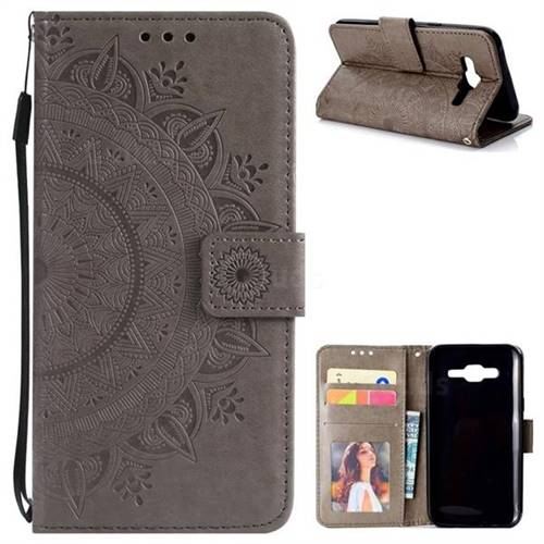 Intricate Embossing Datura Leather Wallet Case for Samsung Galaxy J5 2015 J500 - Gray