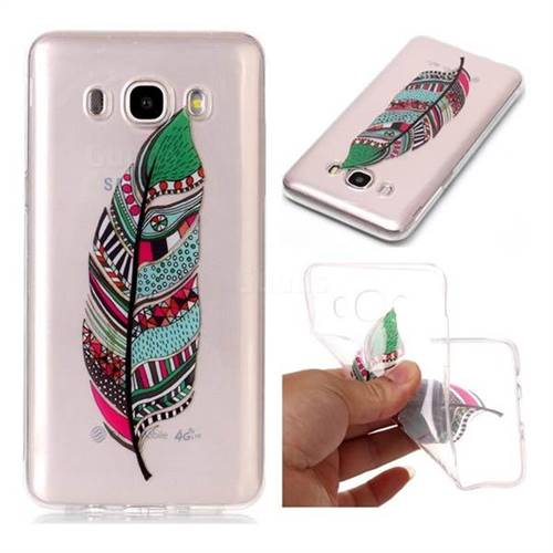 Green Feathers Super Clear Soft TPU Back Cover for Samsung Galaxy J5 2016 J510