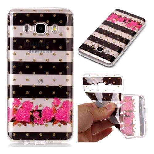Striped Flowers Super Clear Soft TPU Back Cover for Samsung Galaxy J5 2016 J510