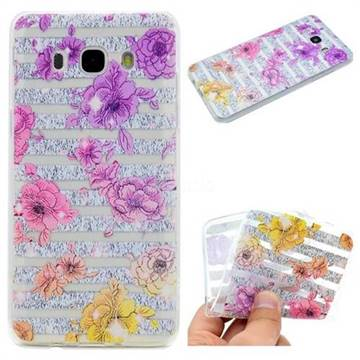 Striped Roses Super Clear Soft TPU Back Cover for Samsung Galaxy J5 2016 J510