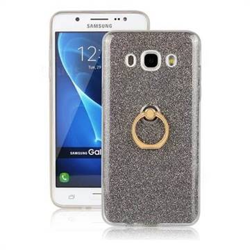 Luxury Soft TPU Glitter Back Ring Cover with 360 Rotate Finger Holder Buckle for Samsung Galaxy J5 2016 J510 - Black