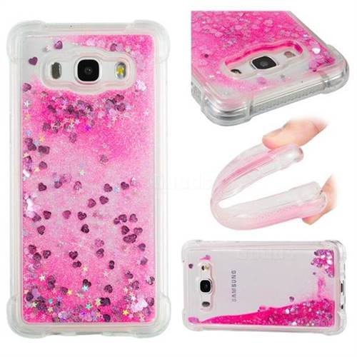 Dynamic Liquid Glitter Sand Quicksand TPU Case for Samsung Galaxy J5 2016 J510 - Pink Love Heart
