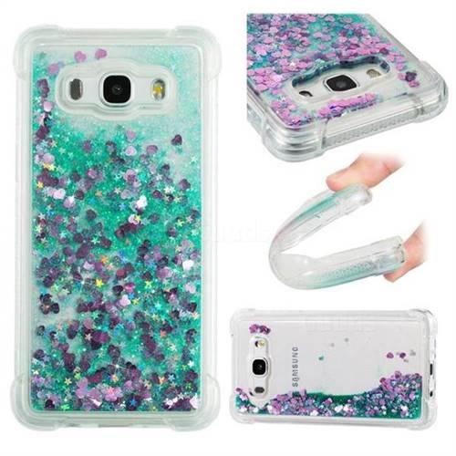Dynamic Liquid Glitter Sand Quicksand TPU Case for Samsung Galaxy J5 2016 J510 - Green Love Heart