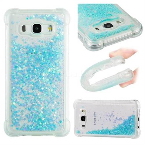 Dynamic Liquid Glitter Sand Quicksand TPU Case for Samsung Galaxy J5 2016 J510 - Silver Blue Star
