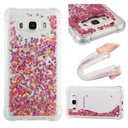Dynamic Liquid Glitter Sand Quicksand TPU Case for Samsung Galaxy J5 2016 J510 - Rose Gold Love Heart
