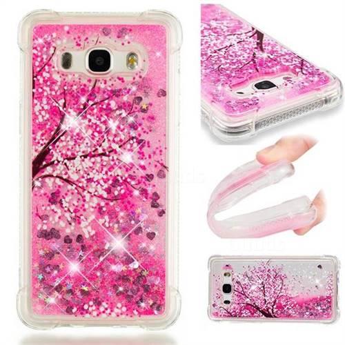 Pink Cherry Blossom Dynamic Liquid Glitter Sand Quicksand Star TPU Case for Samsung Galaxy J5 2016 J510