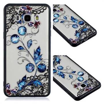 Butterfly Lace Diamond Flower Soft TPU Back Cover for Samsung Galaxy J5 2016 J510