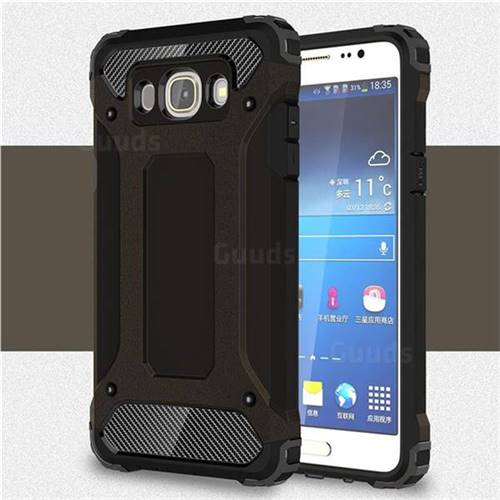 King Kong Armor Premium Shockproof Dual Layer Rugged Hard Cover for Samsung Galaxy J5 2016 J510 - Black Gold