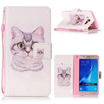 Lovely Cat Leather Wallet Phone Case for Samsung Galaxy J5 2016 J510