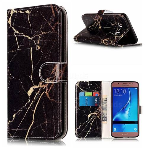 Black Gold Marble PU Leather Wallet Case for Samsung Galaxy J5 2016 J510