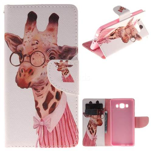 Pink Giraffe PU Leather Wallet Case for Samsung Galaxy J5 2016 J510