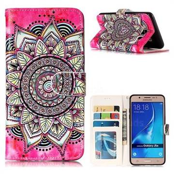 Rose Mandala 3D Relief Oil PU Leather Wallet Case for Samsung Galaxy J5 2016 J510
