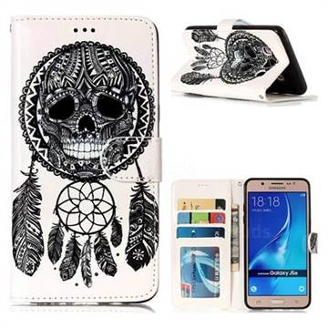 Wind Chimes Skull 3D Relief Oil PU Leather Wallet Case for Samsung Galaxy J5 2016 J510