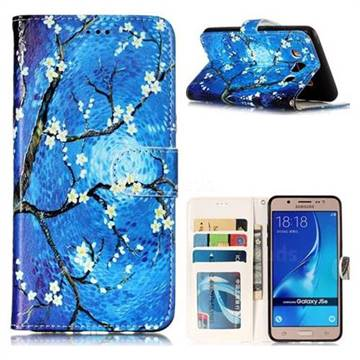 Plum Blossom 3D Relief Oil PU Leather Wallet Case for Samsung Galaxy J5 2016 J510