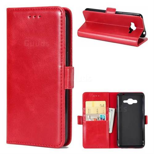 Luxury Crazy Horse PU Leather Wallet Case for Samsung Galaxy J5 2016 J510 - Red