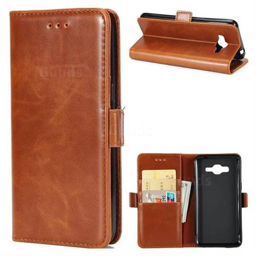 Luxury Crazy Horse PU Leather Wallet Case for Samsung Galaxy J5 2016 J510 - Brown