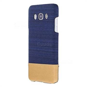 Canvas Cloth Coated Plastic Back Cover for Samsung Galaxy J5 2016 J510 - Dark Blue