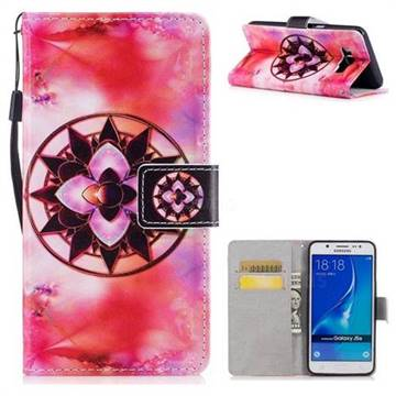Red Mandala PU Leather Wallet Case for Samsung Galaxy J5 2016 J510