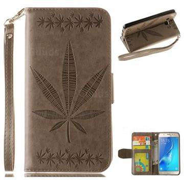 Intricate Embossing Maple Leather Wallet Case for Samsung Galaxy J5 2016 J510 - Gray