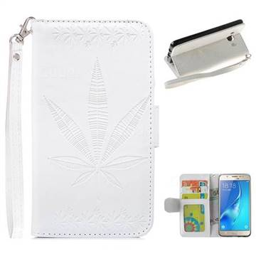 Intricate Embossing Maple Leather Wallet Case for Samsung Galaxy J5 2016 J510 - White