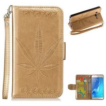 Intricate Embossing Maple Leather Wallet Case for Samsung Galaxy J5 2016 J510 - Champagne