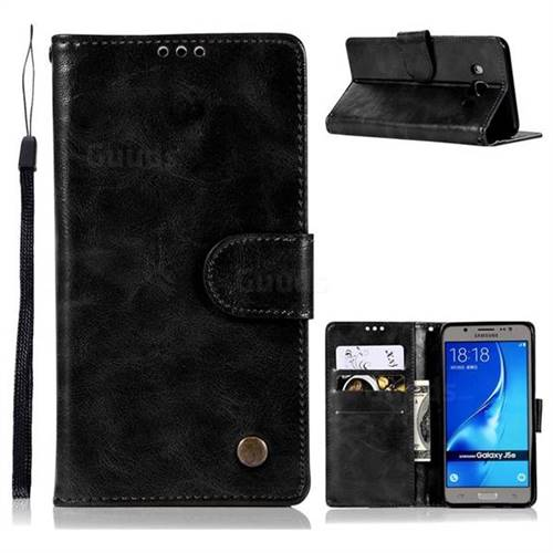 Luxury Retro Leather Wallet Case for Samsung Galaxy J5 2016 J510 - Black