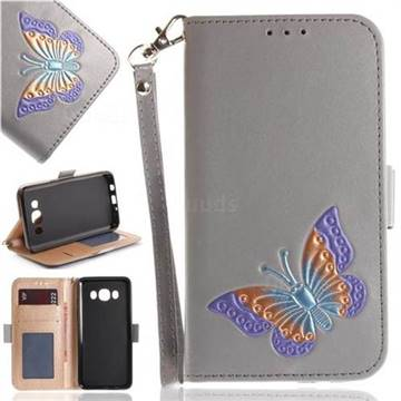 Imprint Embossing Butterfly Leather Wallet Case for Samsung Galaxy J5 2016 J510 - Grey