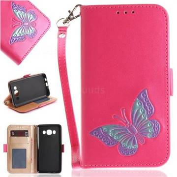 Imprint Embossing Butterfly Leather Wallet Case for Samsung Galaxy J5 2016 J510 - Rose Red